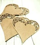 Srdce dřevěná ornament - mix 3 velikostí - červená