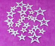 Hvězdičky ploché mix velikostí - červené glitter 8ks