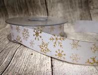 Stuha imitace pytloviny bílá - zlaté vločky