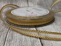Stuha šifonová zlatá - zlatý lem - 10mm - 1m