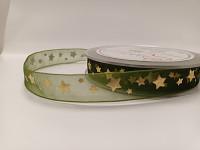Stuha šifonová zelená s hvězdičkami - 10 mm - 1m