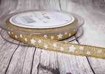 Stuha zlatá s lurexem a hvězdičkami 10 mm- 1m