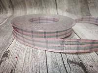 Stuha růžovostříbrná káro - 15 mm - 1 m