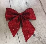 Mašlička mini glitter - červená