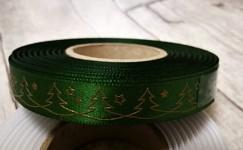 Saténová stuha 15 mm zelená - zlaté stromečky - 1 m