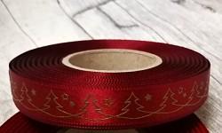 Saténová stuha 15 mm vínová - zlaté stromečky - 1m