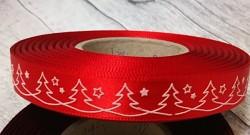 Saténová stuha 15 mm červená - bílé stromečky -1 m