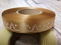Saténová stuha 15 mm zlatá - bílé stromečky - 1m