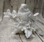 Ptáček zimní bílý glitter na větvičce