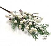Větvička vánoční šiška a bobule - 22 cm