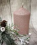 Svíčka pískovaná třpytivá - starorůžová - 10 cm