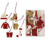 Dřevěné zimní dekorace červená/natur 6 ks