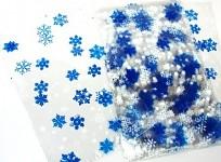 Celofánový sáček - čirý s modrobílými vločkami