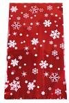 Celofánový sáček - červeno-bílý  s vločkami 15x25 cm