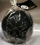 Svíčka koule - černomodrá s vločkami - 8 cm