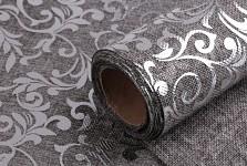 Imitace juty šedá - stříbrné ornamenty - 24 cm/150 cm