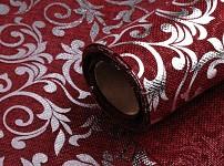 Imitace juty tm.červená - stříbrné ornamenty - 24 cm/150 cm