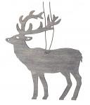 Dřevěný jelen závěsný - šedý