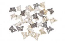Motýlek dřevěný dutý - mix hnědý - 2 cm  -12 ks