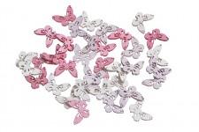Motýlek dřevěný dutý - mix růžový - 2 cm  -12 ks