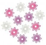 Kytičky dřevěné cípaté - růžovofialový mix - 12 ks