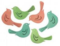 Ptáčci dřevění - pastelový mix - 6 ks