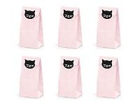 Papírový pytlík na sladkosti růžový CAT - 6ks