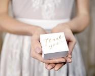 Krabička dárková - bílá se zlatým Thank you