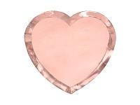 Papírové talířky - rosegold srdce - 6 ks