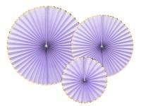 Rozety závěsné - fialovo -zlaté - 3ks