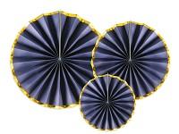 Rozety závěsné - modro - zlaté - 3ks