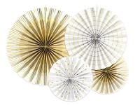 Rozety závěsné - bílo - zlaté - 4 ks