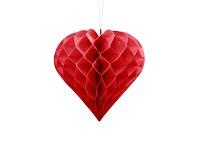 Honeycomb - srdce - červené 30 cm