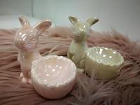 Zajíc porcelán - růžový stojánek na vejce