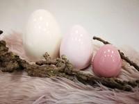 Vejce porcelán - krémovo-růžový mix - 7 cm