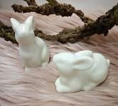 Zajíček bílý ležící - porcelán 5cm