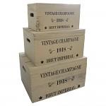 Dřevěná úložná krabice vintage champagne - střední
