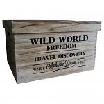 Dřevěná úložná krabice wild world - střední