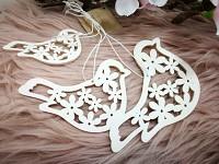Ptáčci dřevění ornament - mix 3 velikostí - bílí