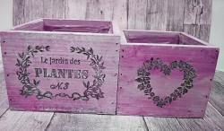 Sada dřevěných květináčů fialových - PLANTES 2ks