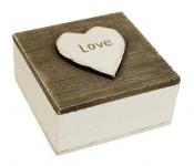 Dřevěná krabička čtverec - bílohnědá Love