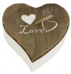 Dřevěná krabička Love - srdce hnědo-bílé - 15 cm