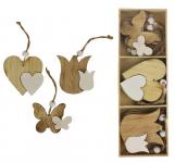 Dřevěné jarní dekorace k zavěšení - hnědý mix