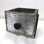 Dřevěný šuplík šedobílý - malý