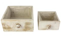 Dřevěný šuplík Vintage - bílošedý malý