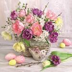 Ubrousky - velikonoční s tulipány a narcisy