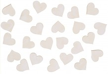 Dřevěná srdíčka  -  bílá 24ks