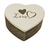Dřevěná krabička Love - srdce hnědo-bílé - 9 cm