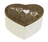 Dřevěná krabička Amorův šíp - srdce hnědo-bílé - 9 cm