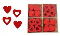 Srdíčka dřevěná - červený mix - 12 ks